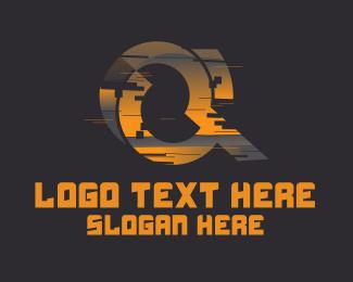 Fortnite - Amber Glitch Letter Q logo design
