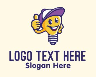 Electrician - Light Bulb Electrician Mascot logo design