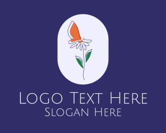 Flower Business - Daisy Flower Butterfly  logo design
