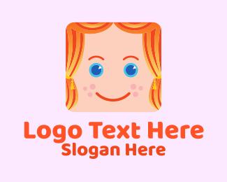 House - Girl Kid Curtain logo design