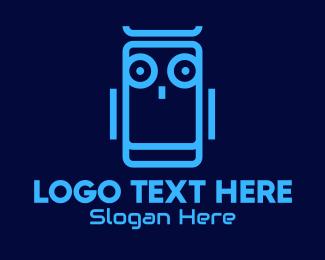 Robotic - Blue Robot Bird logo design