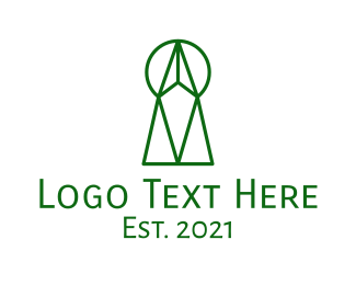 Keyhole - Abstract Geometric Keyhole logo design