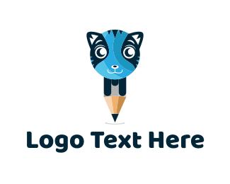 Illustrate - Cat Pencil logo design