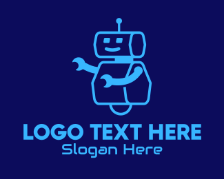 Toy Robot - Blue Robot Toy  logo design