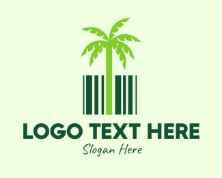 Coconut - Green Coconut Barcode logo design