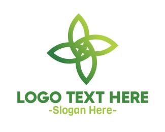 Massage Parlor - Four Leaf Outline logo design
