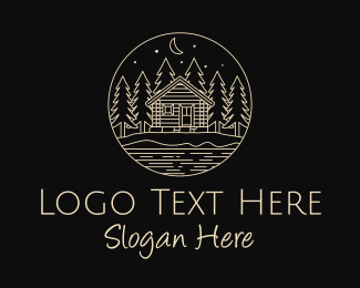 Starry Night - Cabin Forest  logo design