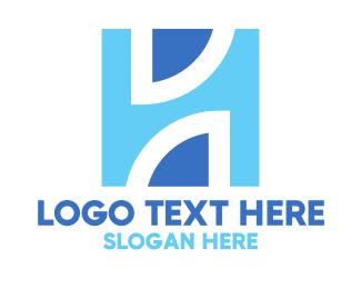 Architecture - Blue Architectural H logo design
