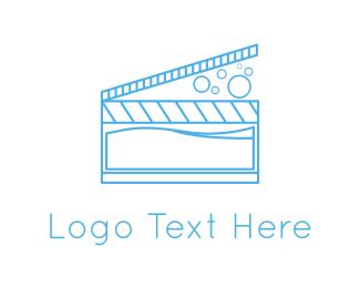Clapperboard - Water Cinema logo design
