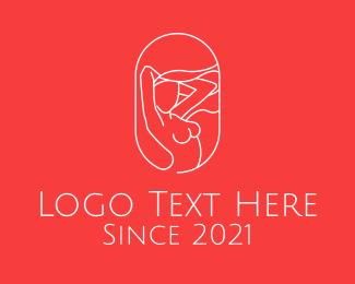 Adult Entertainment - Sexy Woman Line Art logo design