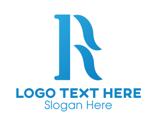 Cursive - Blue Cursive R logo design