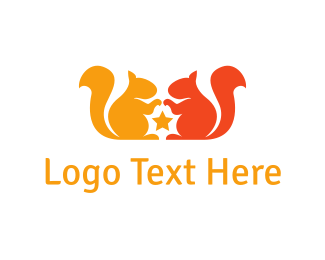 Double - Orange Squirrels logo design