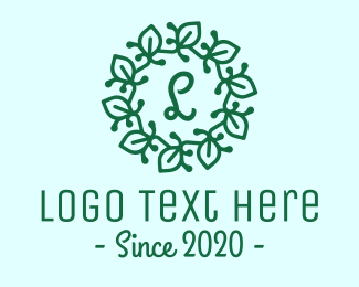 Natural Therapy - Green Leaves Lettermark Wreath logo design
