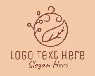 Brown Organic Leaf  Logo