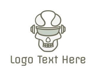 Artificial Intelligence - Cyborg Skull Eyewear logo design