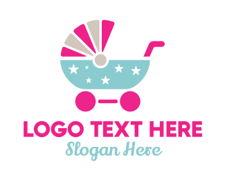 Child Care - Star Baby Stroller logo design