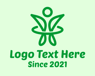 Healthy - Green Healthy Person logo design