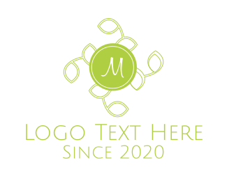 Organic Product - Green Tea Leaves Lettermark logo design
