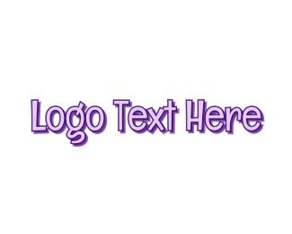 Funny - Comic Purple Wordmark logo design