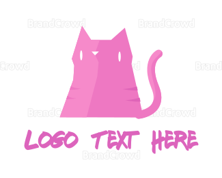 Caricature - Pink Cat logo design