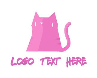 Doodle - Pink Cat logo design