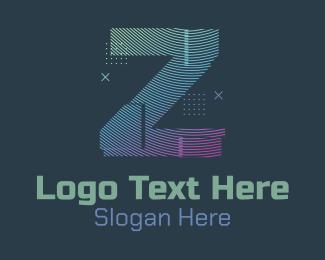 Z - Modern Glitch Letter Z logo design