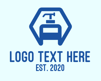 Shampoo - Blue Hexagon Sanitizer logo design
