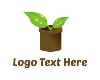 Green And Brown - Plant Pot logo design