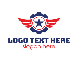 Us - Automotive Gear Wing Star logo design