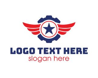 Machinery - Automotive Gear Wing Star logo design