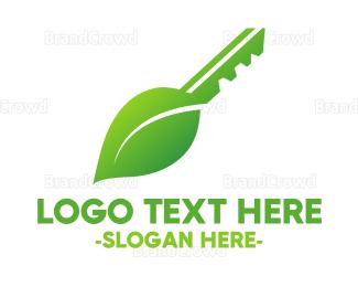 Key - Leaf Key logo design