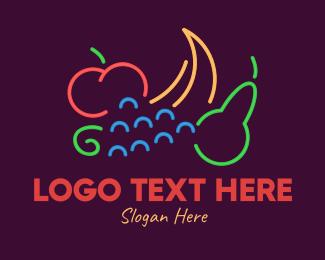 Juice Stand - Neon Fresh Fruits logo design
