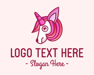 Mythical - Fairy Tale Pink Unicorn logo design