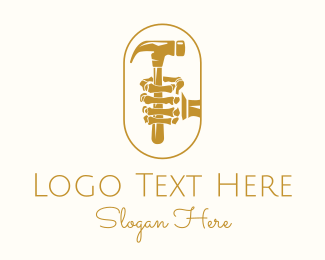 Worker - Golden Skeleton Hammer logo design