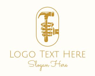 Skeletal - Golden Skeleton Hammer logo design