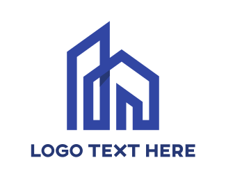 Village - Church Blue Outline logo design