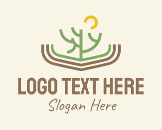 Tree - Minimalist Cactus Scenery logo design