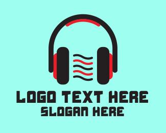 Dj - Red DJ Headphones logo design