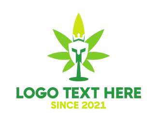 Green Helmet - Cannabis Spartan King logo design