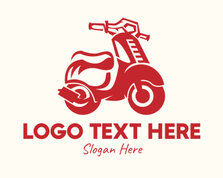 Riding - Red Scooter Motorbike logo design