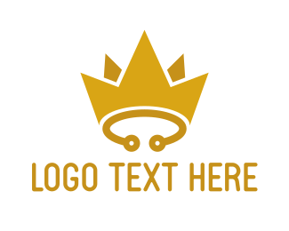 Yellow Crown - Yellow Circuit Crown logo design
