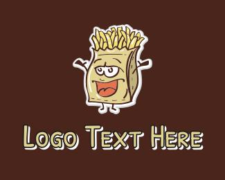 Food Cart - French Fries Mascot logo design