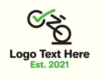 Bike Race - Bicycle Checkmark  logo design