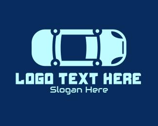 Drive-in - Blue Car Mechanic logo design