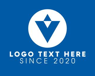 Directional - Blue Letter V logo design