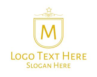 Fc - Golden Luxurious Badge Lettermark logo design