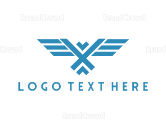 Austrian - Geometric Blue Falcon logo design