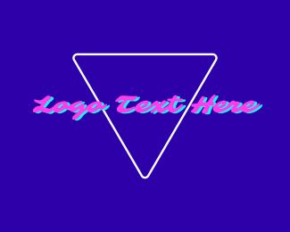 Las Vegas - Pink DJ Neon Vaporwave logo design