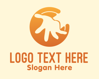 Social Worker - Orange Kid Hand  logo design