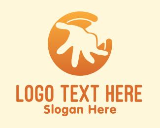 Kids - Orange Kid Hand logo design